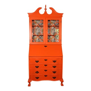 1940s Maddox Colonial Hermés Orange Chippendale Style Secretary Desk For Sale