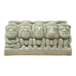 Vintage Celadon Monkeys Business Card Holder For Sale
