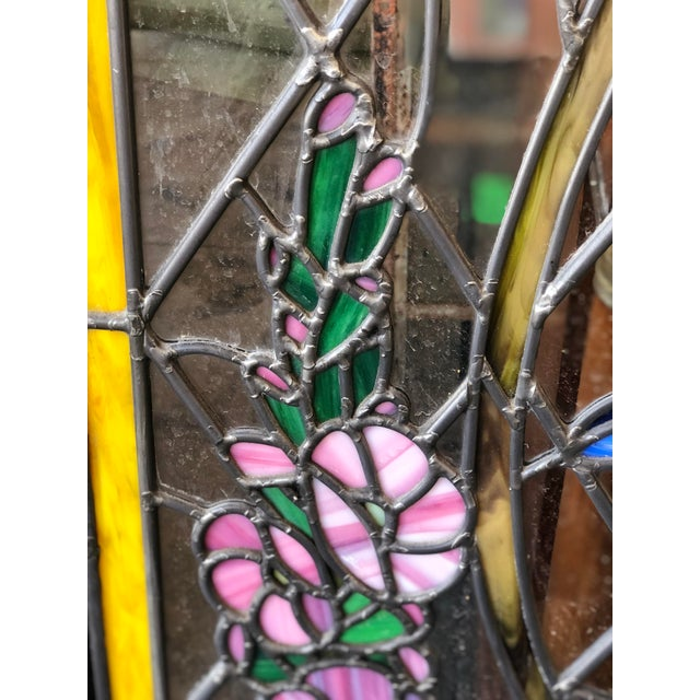 1920s Arts and Crafts Stained Leaded Glass Storybook Cottage Window For Sale - Image 11 of 13