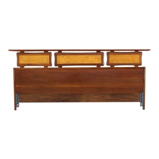 Vintage Mid Century California King Walnut Headboard For Sale