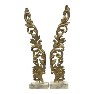Antique Carved and Gilt Wood Architectural Fragments Mounted On Stands - a Pair For Sale