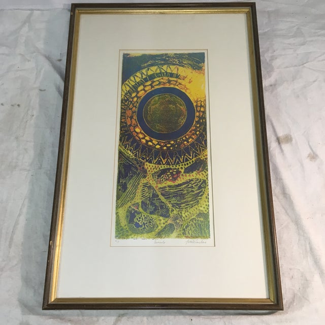 """Lithograph 1970s """"Aureolo"""" Etching by Lucile H. Sanders, Framed For Sale - Image 7 of 7"""