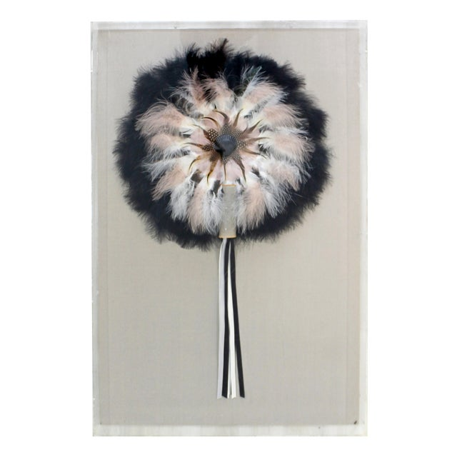 Tan Contemporary Lucite Framed Greg Copeland Feather Flower Mixed Media 1981 For Sale - Image 8 of 8