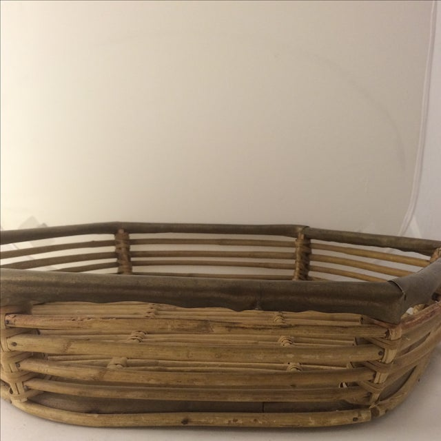 Rattan Brass-Edged Serving Trays - A Pair - Image 4 of 10