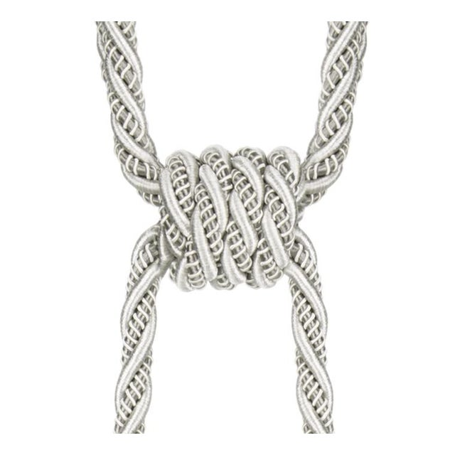 """Platinum Double Tassel Tieback With Cut Ruche- Height 17"""" For Sale - Image 4 of 6"""