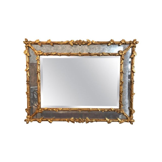 Giltwood Antique Carved Florentine Giltwood Mirror Italy Baroque Revival For Sale - Image 7 of 7