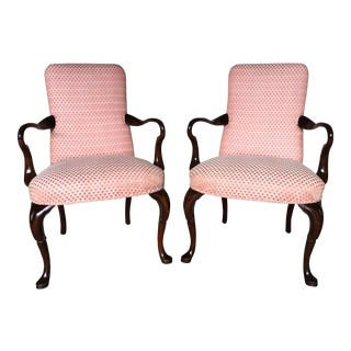 Vintage Goose Neck Formal Fireside Accent Chairs - A Pair