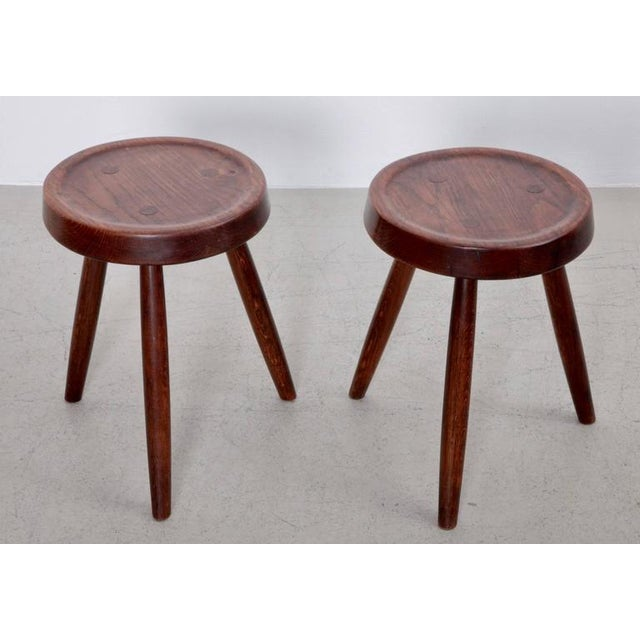 Pair of French Solid Oak Stools, 1950s For Sale - Image 4 of 6