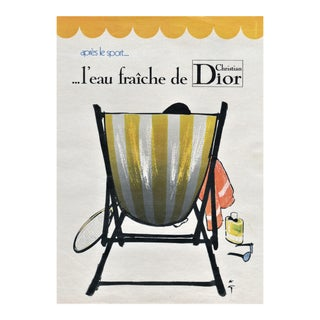 Matted Dior After Sport (Tennis) Men's Cologne Print by Gruau For Sale