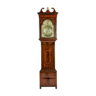19th Century Inlay Mahogany Wood Long Case Clock For Sale