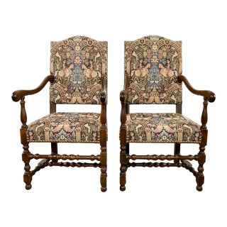 French Provincial Louis XIII Chairs, a Pair For Sale