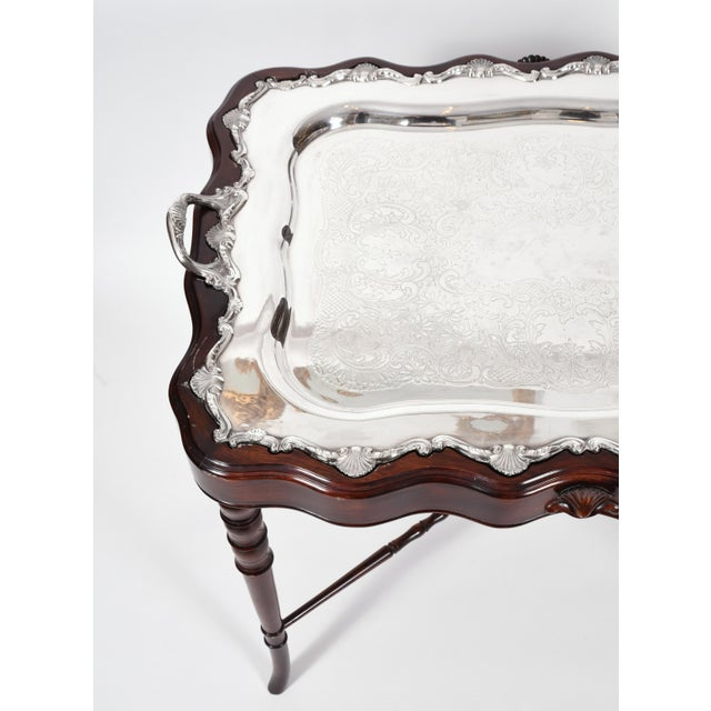 Vintage Mahogany Base Frame Silver Plate Tray Table For Sale - Image 4 of 13
