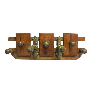 Decorative European Wood and Bronze Coat Rack For Sale