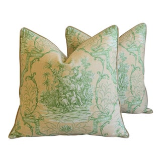 "Designer French Chinoiserie Toile Feather/Down Pillows 24"" Square - Pair"