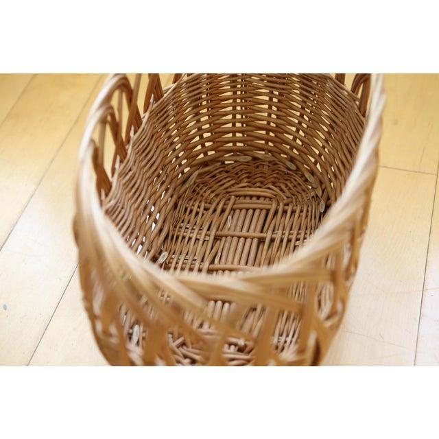 Vintage Boho Chic Wicker Magazine Rack Basket - Image 4 of 5