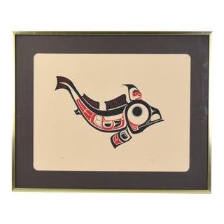 1973 Joe David 1st Nation Northwest Native American Fish Signed Serigraph For Sale