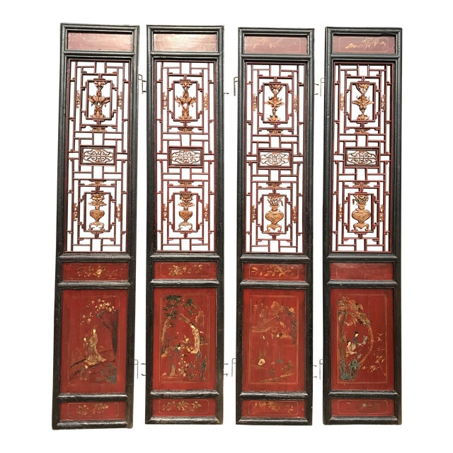 Qing Dynasty Chinese Lacquer Painted Folding Exterior Doors - Set of 4 For Sale