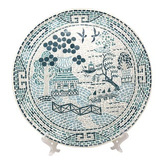 Blue Willow Mosaic Tile Brass Decorative Plate