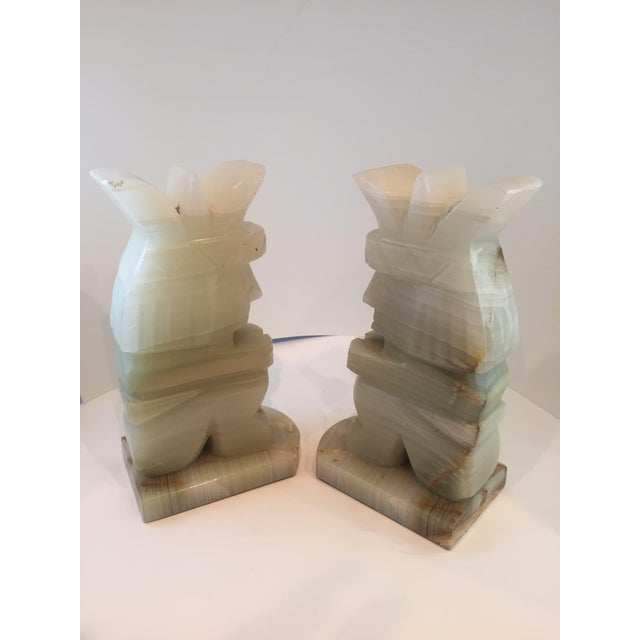 Vintage Aztec Hand Carved Stone Onyx Bookends - A Pair - Image 4 of 4