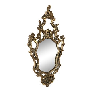 Antique Italian Baroque Giltwood Mirror For Sale