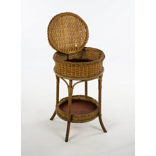 1900s Victorian Heywood Wakefield Wicker Sewing Stand Side Table Preview