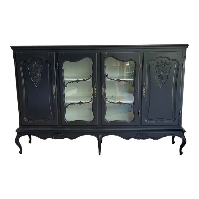 20th Century French Country Dark Gray Hutch Buffet For Sale