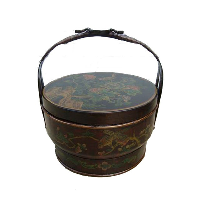 Chinese Bamboo Round Flower Wedding Basket For Sale