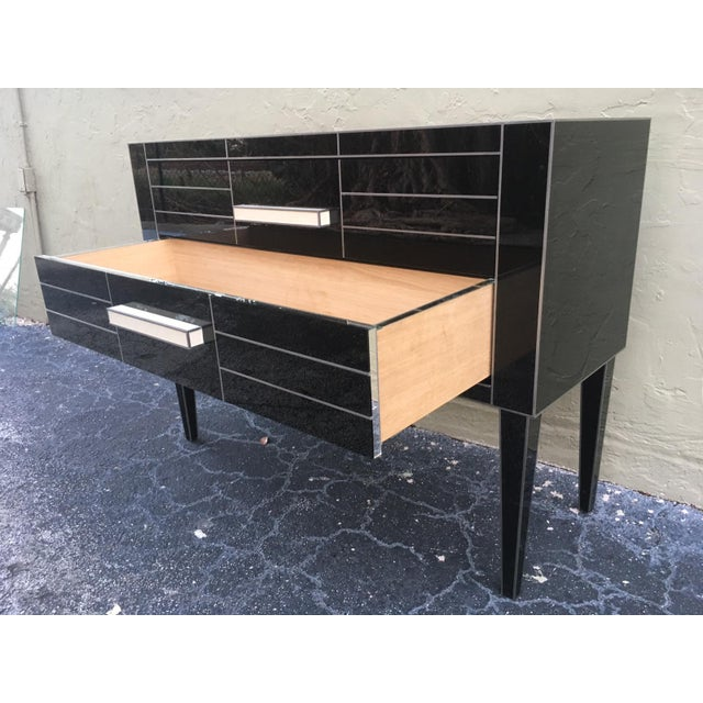 New Chest of Drawers in Black Mirror and Aluminium With White Glass Handle For Sale - Image 4 of 11