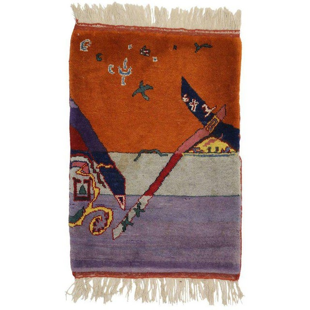 1980s 1980s Vintage Chinese Art Deco Rug -2′2″ × 2′11″ For Sale - Image 5 of 5