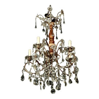 Italian Six-Light Crystal and Gilt Wood Chandelier For Sale