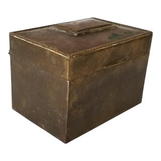 Vintage Handmade Brass Box With Lining Wood . For Sale