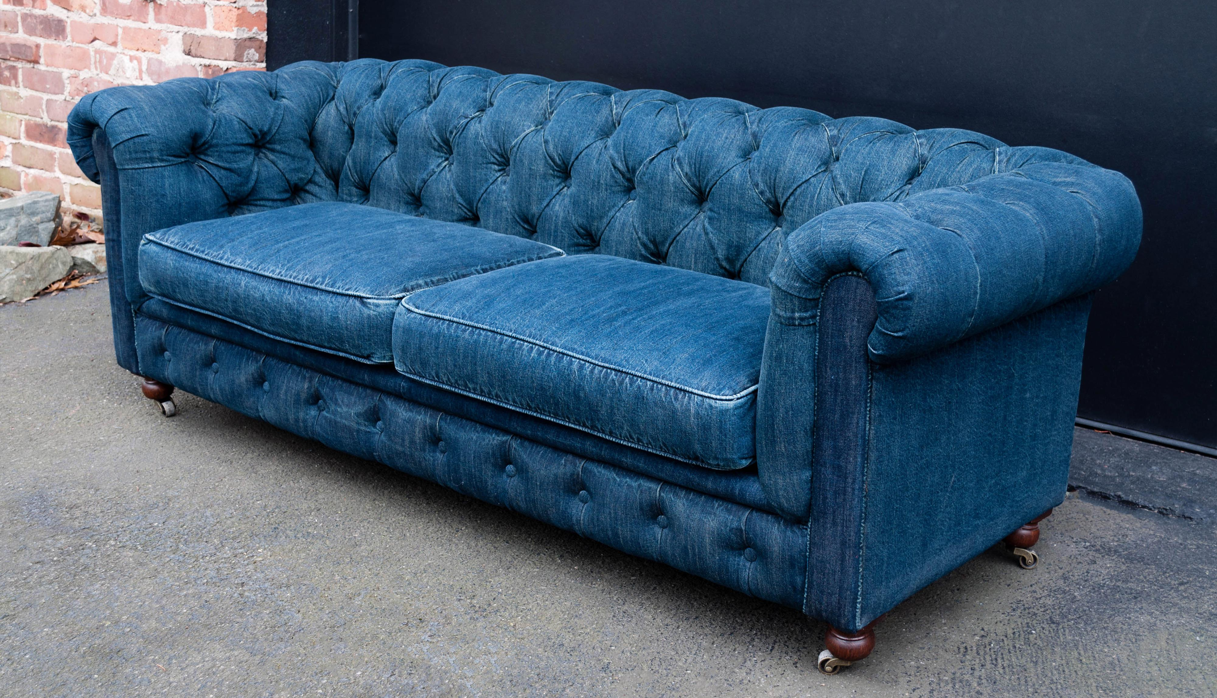 Traditional Mini Chesterfield Sofa By Restoration Hardware For Sale   Image  3 Of 11