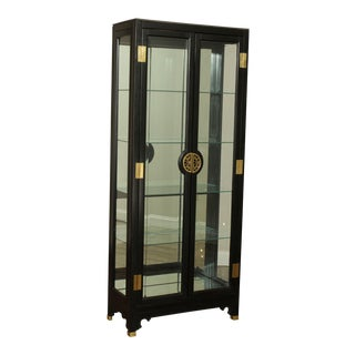 American Of Martinsville Black Lacquer Asian Style Curio Display Cabinet For Sale