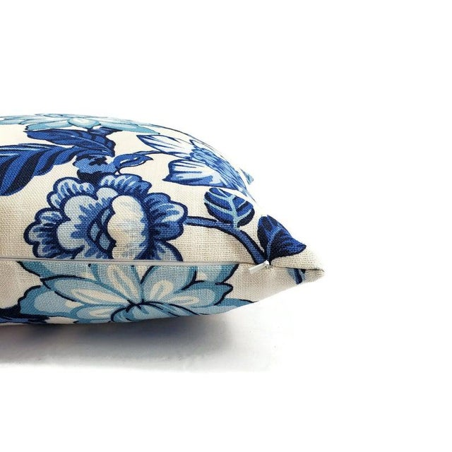 """Schumacher F. Schumacher Huntington Gardens in Bleu Marine Pillow Cover - 20"""" X 20"""" Blue and Cream Floral Cushion Case - Fabric on Both Sides For Sale - Image 4 of 5"""