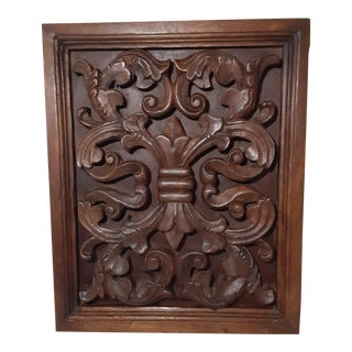 Vintage Hand Carved Relief Wood Wall Plaque Hanging For Sale