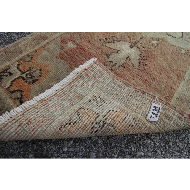 Tribal Antique Turkish Oushak Hand Knotted Rug - 1'8 X 12'9 For Sale In Houston - Image 6 of 6