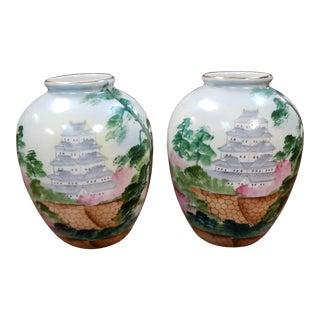 Mid 20th Century Japanese Porcelain Pagoda Motif Bulbous Vases - a Pair For Sale