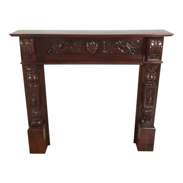 Carved Wood Fireplace Mantel And Wall Mirror Set For