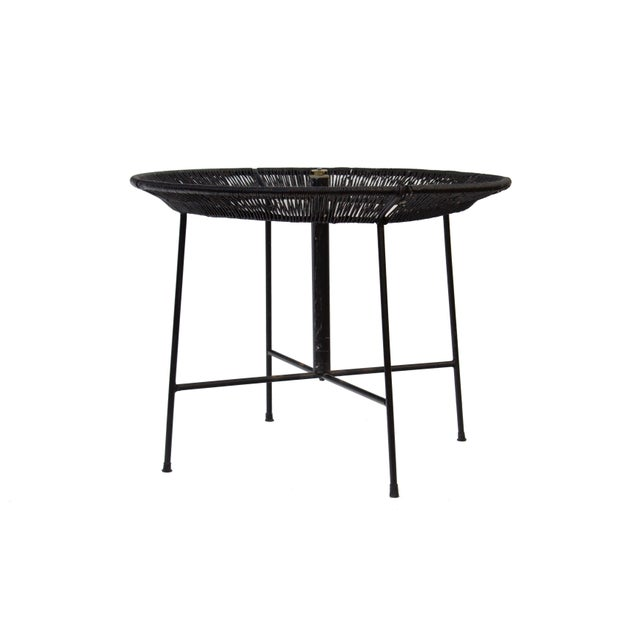Arthur Umanoff Round Wrought Iron and Raffia Dining Patio Table For Sale - Image 4 of 12