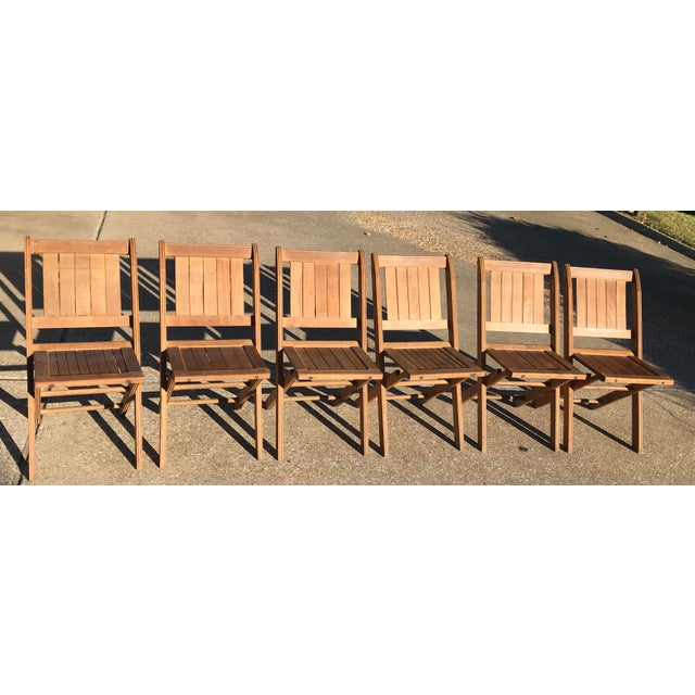 Nice vintage set of folding wooden chairs. These are Tucker Way Style slat  chairs and - Vintage Wooden Folding Chairs - Set Of Six Chairish