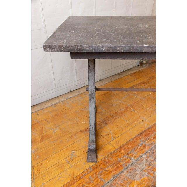 20th Century Industrial Iron Console With Marble Top For Sale - Image 10 of 11