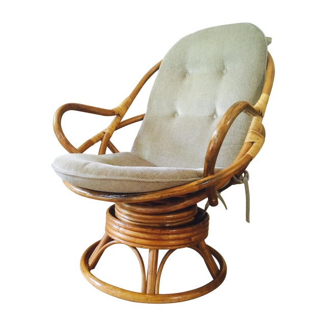 Vintage Bamboo Swivel Lounge Chair - Image 1 of 7