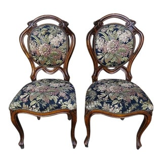 1960s Antique French Provincial Louis XV Style Hand Carved Walnut Side Chairs - A Pair