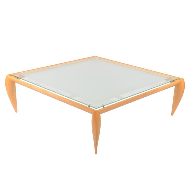 This large stylish glass top Brueton coffee table has a graceful and refined appearance. Designed by Architect Victor l....