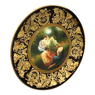 19th Century European Hand Painted Porcelain Charger For Sale
