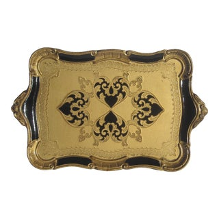 Italian Florentine Serving Tray in Gold & Black