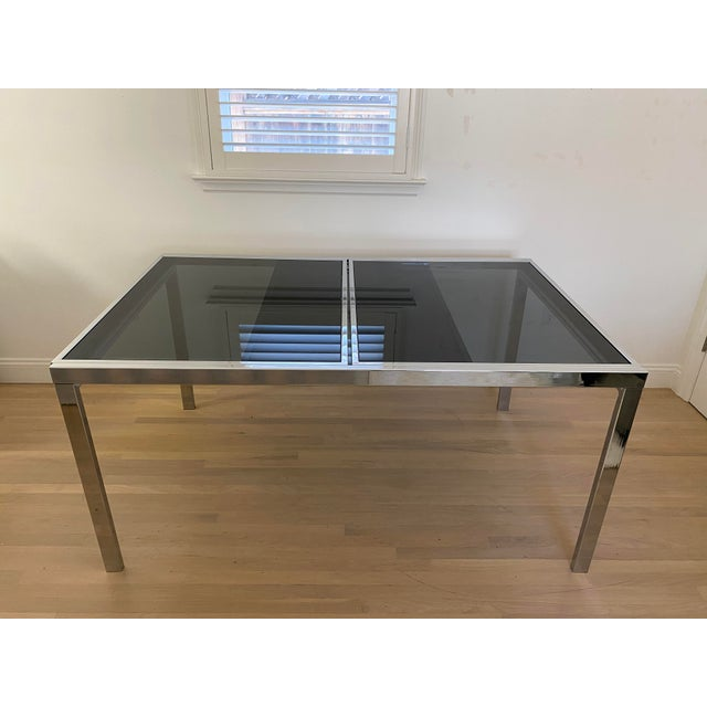1970s 1970's Chrome and Smoked Glass Extension Dining Table by Milo Baughman For Sale - Image 5 of 13