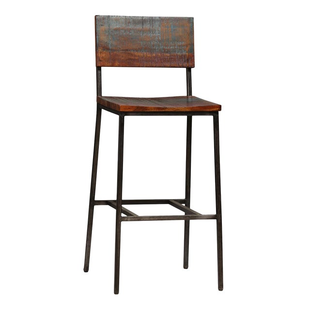 Reclaimed Wood & Iron Bar Stool - Image 1 of 2