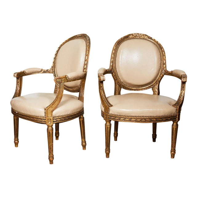 Pair of French Louis XVI Style Gilded Fauteuils For Sale