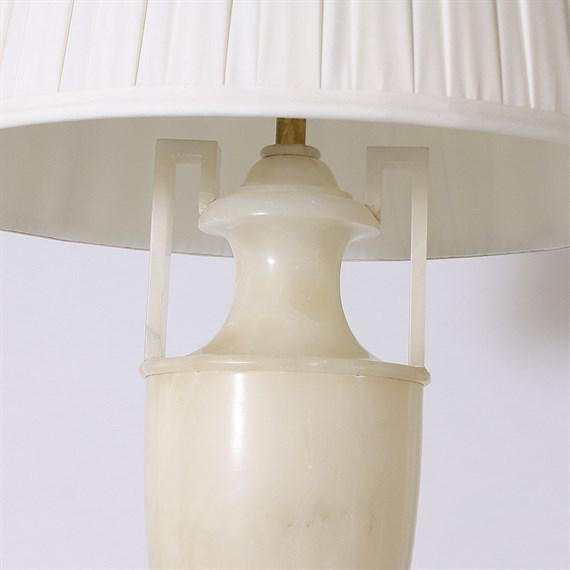 Italian Alabaster Lamp, c. 1940. Off-white pongee pleated shade. Gold twisted cording, standard with U.S. wiring. 3 way...